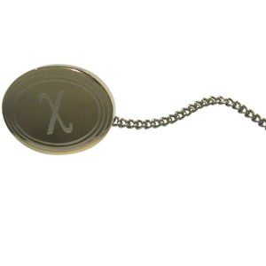 Gold Toned Etched Oval Greek Letter Chi Tie Tack